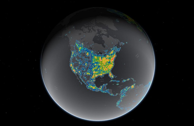 Map of light pollution in the United States