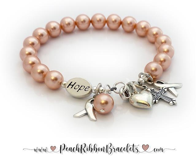 Peach Ribbon Bracelet Hope for Uterine Cancer Patients