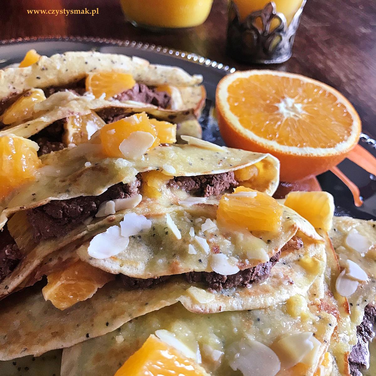 Naleśniki makowe z pomarańczami i czekoladową ricottą