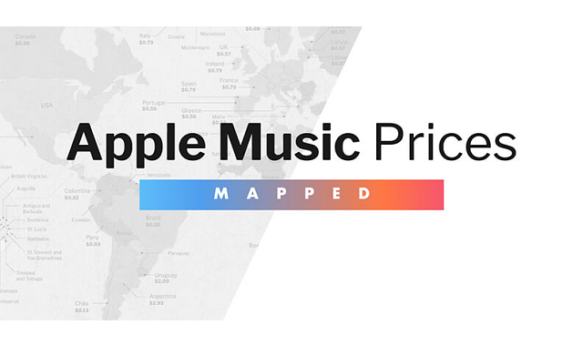How much does Apple Music cost in different countries?