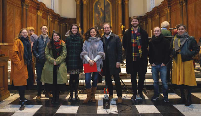 Soloists for John Eccles' Semele, pictured at the Chapel of Trinity College, Cambridge, 2019, ahead of performance. From left to right: Bethany Horak-Hallett (Cupid), [Dave Rowell (recording engineer)], William Wallace (Athamas), Héloïse Bernard (Iris), Helen Charlston (Juno), Aoife Miskelly (Ino), Jonathan Brown (Cadmus), Jolyon Loy (Apollo), James Rhoads (3rd Priest, 2nd Augur), Anna Dennis (Semele)