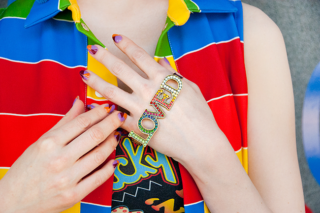 Gucci loved ring, rainbow ring, hand cuff