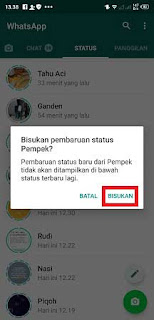 cara membisukan status di atau whatsapp
