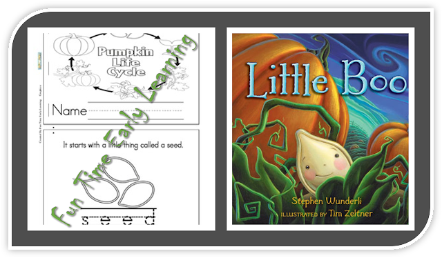 A pumpkin life cycle book to go with Little Boo from Fun Time Early Learning