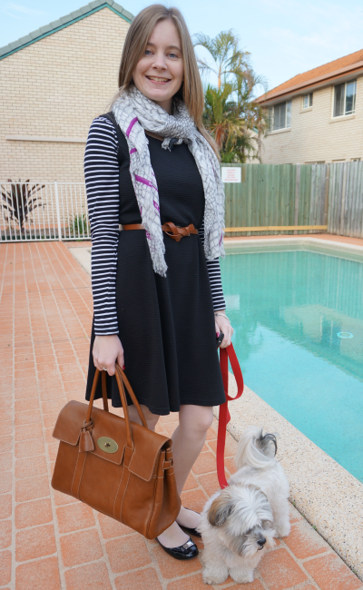 Away From Blue Layered stripe tee black belted dress printed scarf bayswater tote