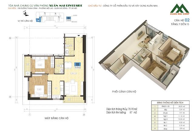 Thiết kế căn hộ 02 - dt 78m Xuân Mai Riverside