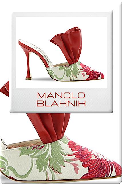 ♦Manolo Blahnik Anjou embroidered floral red mules #manoloblahnik #shoes #redshoes #brilliantluxury