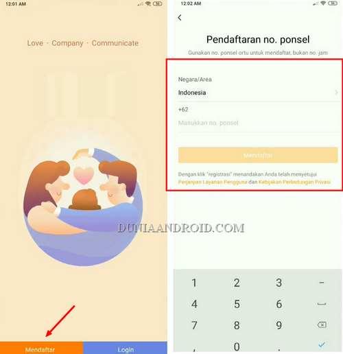 Mendaftar akun aplikasi imoo