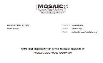 Fundación vinculada a Gulen reconoce el Genocidio Armenio