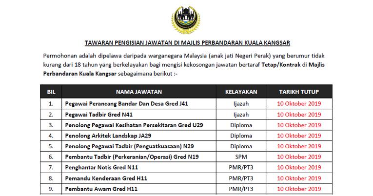 Tawaran Pengisian Jawatan Di Majlis Perbandaran Kuala Kangsar Ejawatankini Com