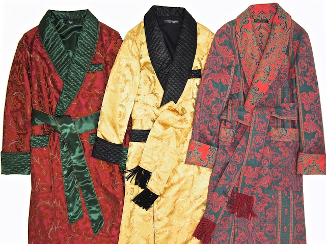 Mens luxury quilted silk dressing gown jacquard cotton robe paisley floral
