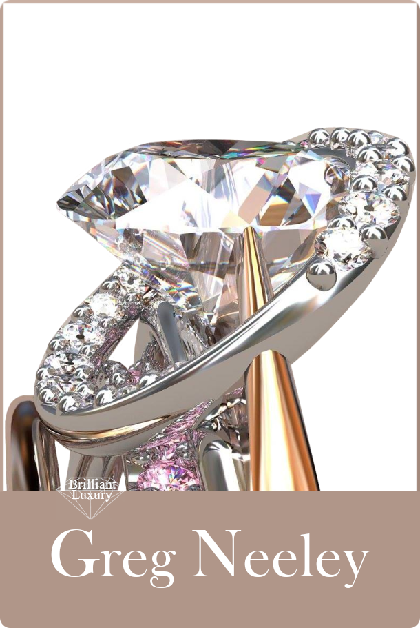 ♦Greg Neeley Award Winning Meteor Rose Gold Diamond Ring made of 18k rose and white gold with white and pink diamonds. Center diamond is 1ct #gregneeley #jewelry #brilliantluxury