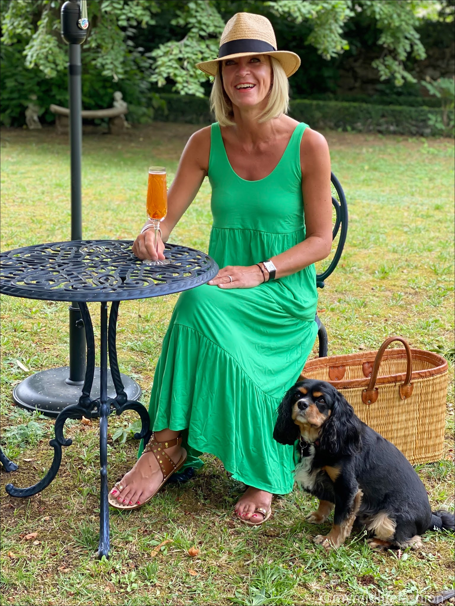 my midlife fashion, Baukjen Beth dress, h and m Panama hat, basalt studded cross over sandals