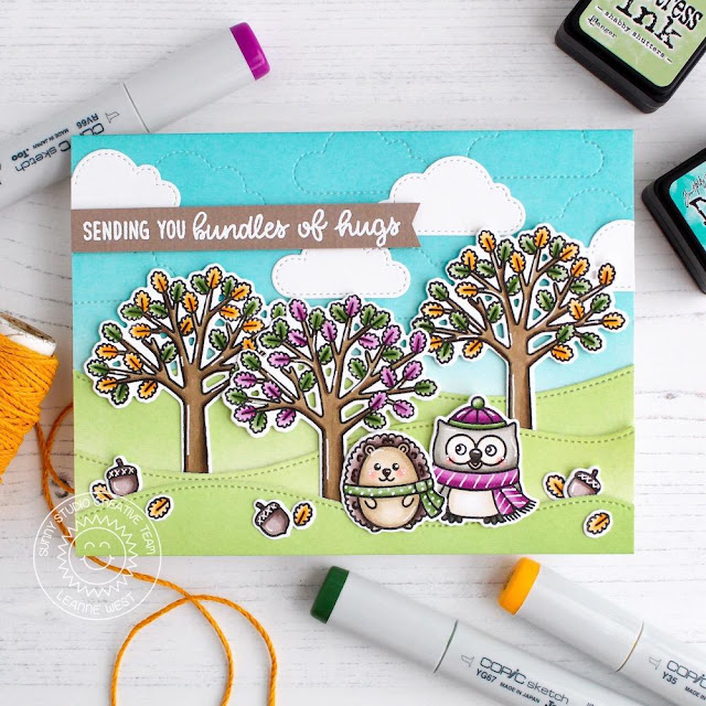 Sunny Studio Stamps: Woodsy Autumn Fluffy Clouds Dies Woodland Border Dies Bundle Of Hugs Card by Leanne West