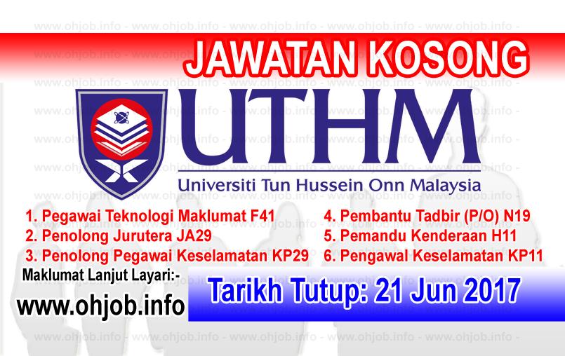 Jawatan Kerja Kosong Universiti Tun Hussein Onn Malaysia - UTHM logo www.ohjob.info jun 2017