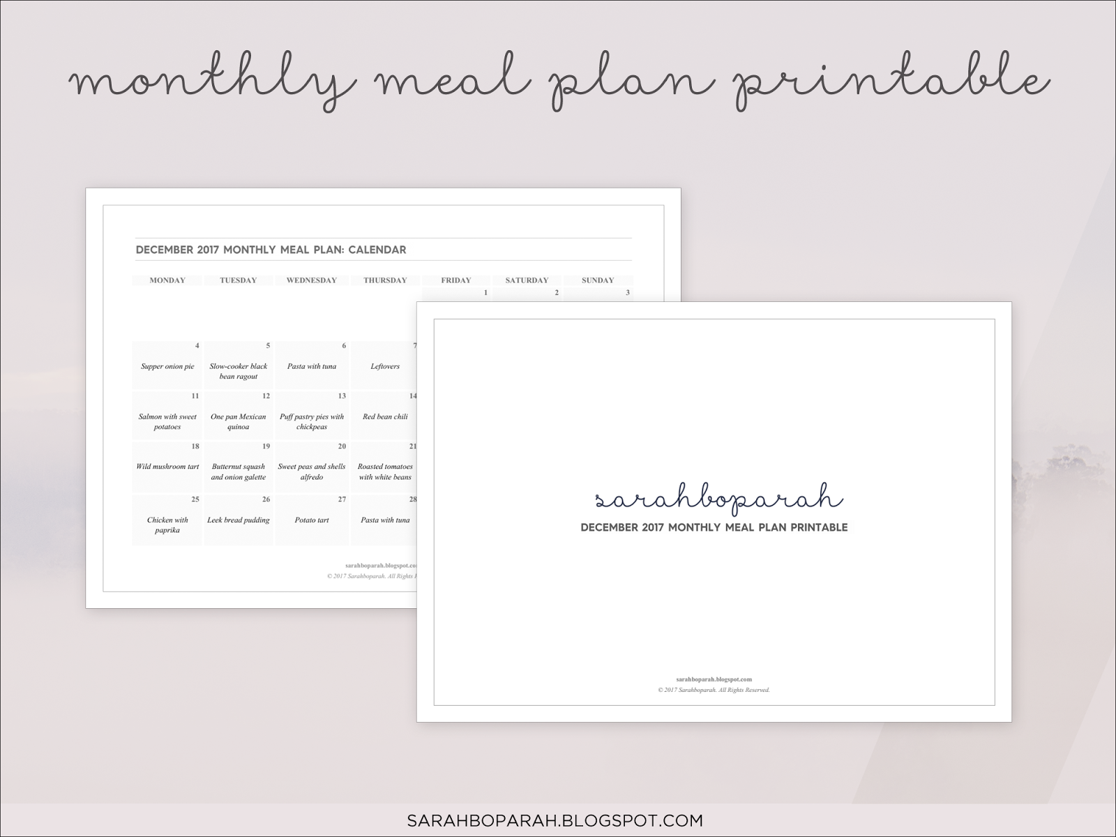 December 2017 Monthly Meal Plan Printable Calendar from Sarahboparah.