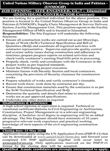 unmogip jobs in United Nations Military Observer Group In India And Pakistan 2017