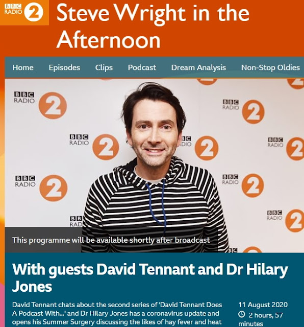 David Tennant on The Steve Wright In The Afternoon Show on BBC Radio Two - Tuesday 11th August 2020