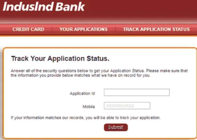 Check IndusInd Bank Credit Card Application Status Online