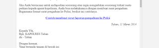 Contoh Surat Laporan Pengaduan Ke Polisi