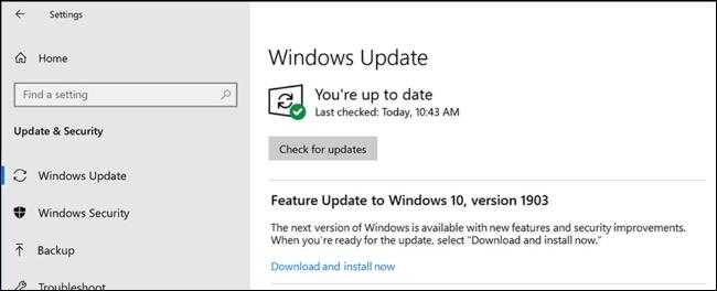 خيار لتثبيت تحديث ميزة في Windows Update.