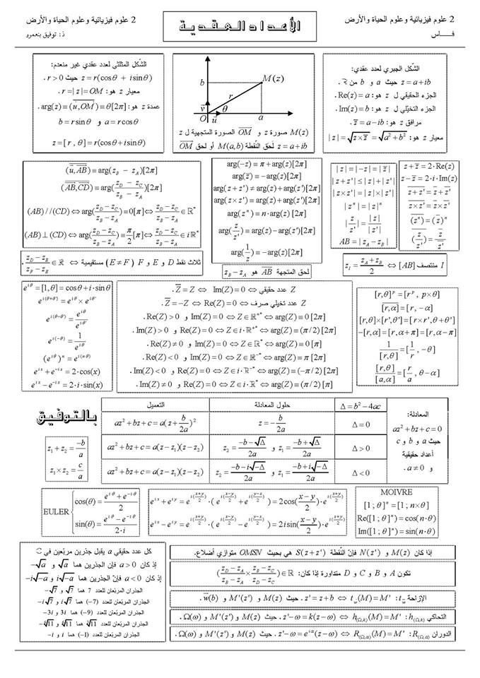 ملخص الأعداد العقدية و الحساب المثلثي الثانية بكالوريا علوم فيزيائية