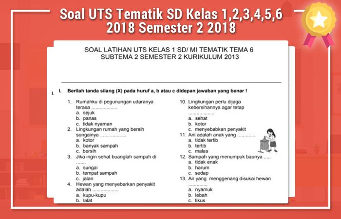 Soal UTS Tematik SD Kelas 1,2,3,4,5,6 2018 Semester 2 2018
