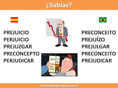 prejuicio, perjuicio, prejuzgar, preconcepto, perjudicar, preconceito, prejuízo, prejulgar, preconceito, prejudicar, falsos amigos, español, portugués, traducción