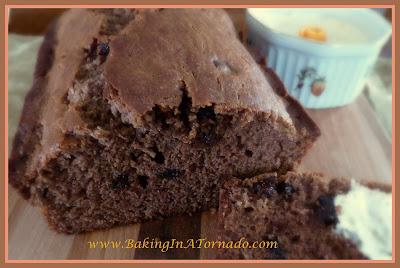 Dark Chocolate Chip Bread with Orange Cream Cheese | recipe developed by www.BakingInATornado.com | #recipe #bread
