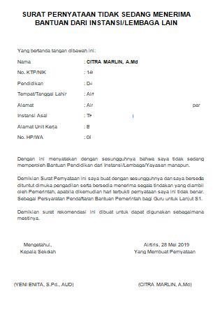 Contoh Surat Pernyataan Tidak Sedang Memperoleh Bantuan dari Instansi/Lembaga Lain