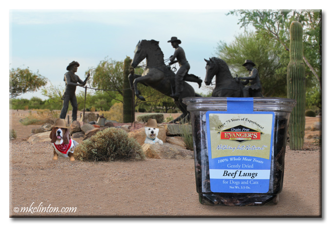 Cowboy round-up statues with cowboy Basset & Westie. Inset of Evanger's Beef Lungs