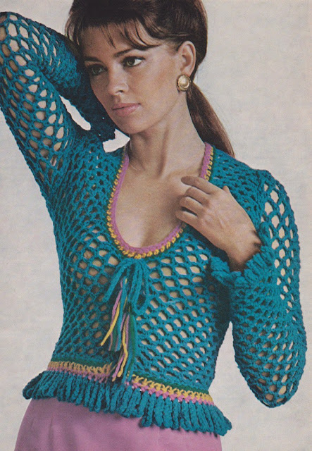 The Vintage Pattern Files: Free 1970's Crochet Pattern - Women's Laced-Up Sweater