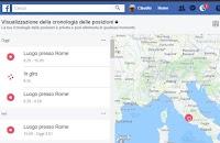 Cronologia posizioni di Facebook con mappa di tutti gli spostamenti