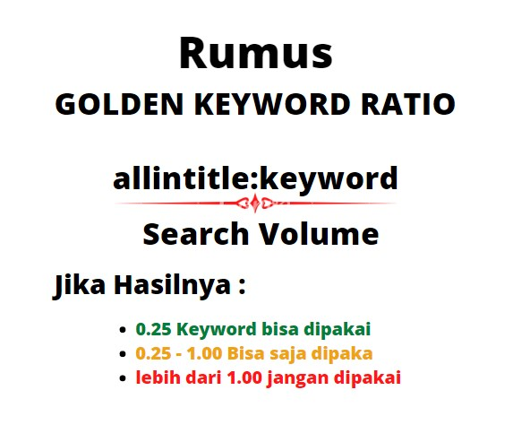 Cara Mencari Golden Keyword Ratio