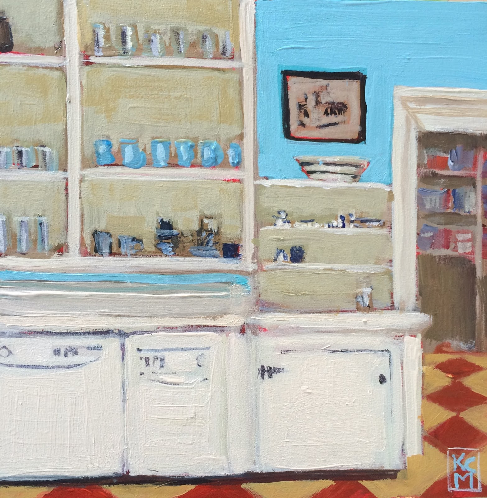 Kelley MacDonald's Daily Paintings: Island Kitchen, 6x6 ...