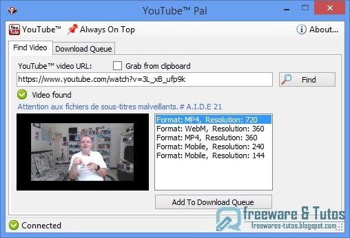 YouTube Pal : un logiciel portable pour télécharger les vidéos de Youtube