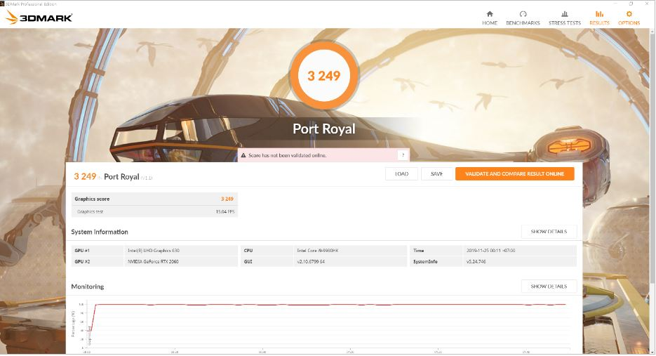 Benchmark 3DMark Port Royal Asus ZenBook Pro Duo UX581