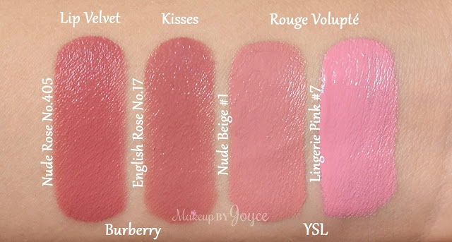 Burberry Lip Velvet Matte Lipstick Nude Rose 405 Swatches YSL Rouge Volupte Lingerie Pink #7 Nude Beige #1