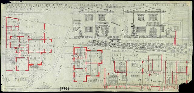 Projeto de um prédio para residência às ruas Caramuru e São Francisco, lote XX, Centro, Vitória, proprietário Major Álvaro Barreto, janeiro/1942.