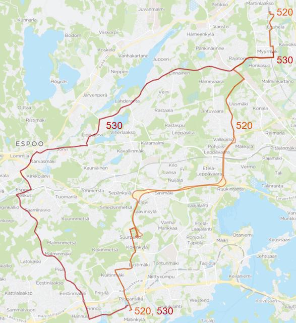 Runkolinja 520: Matinkylä - Suurpelto - Turunväylä - Kehä I - Leppävaara - Myyrmäki - Louhela as. - Martinlaakso. Runkolinja 530: Matinkylä - Espoon keskus - Jorvi - Lähderanta - Myyrmäki. Linja liikennöi Finnoon uuden katuyhteyden kautta.