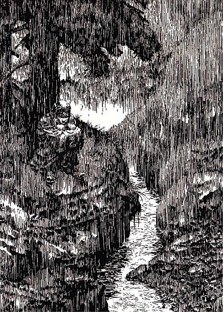 Bernie Wrightson, an unhappy man in the rain