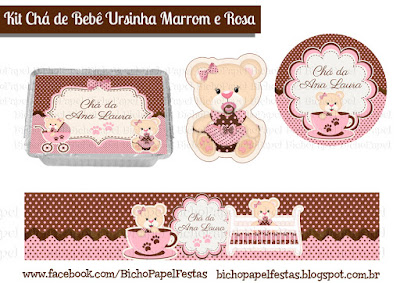 Kit Chá de Bebê Ursinha Marrom e Rosa