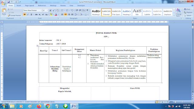 Contoh Format Jurnal Harian PJOK Kelas 6 SD Semester 1 k13 Revisi Terbaru