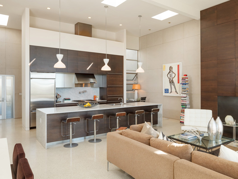 Picture Of Modern Kitchen Right Next To The Living Room Contemporary Apartment Above City San Francisco