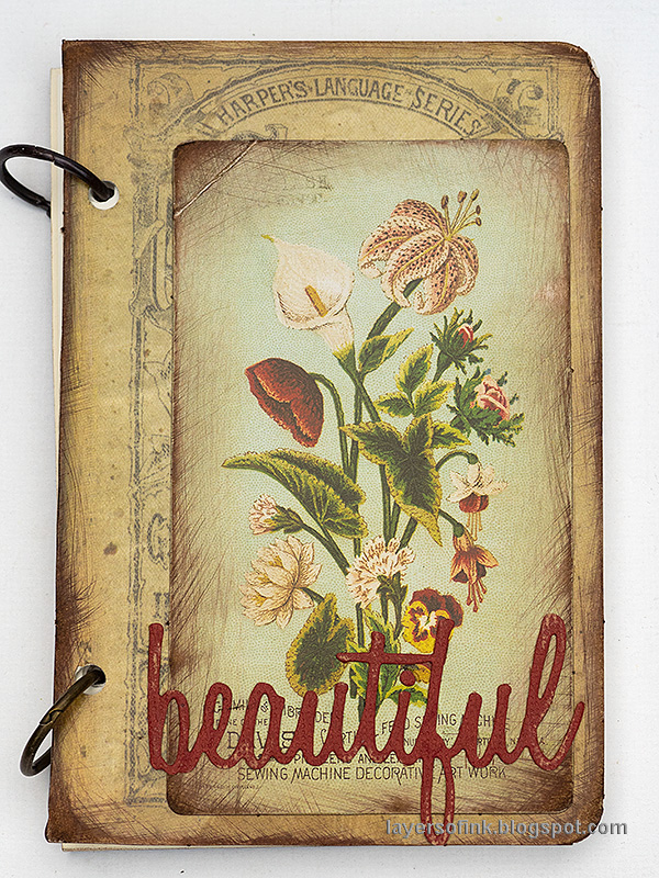Layers of ink - Quick DIY Notebooks Tutorial by Anna-Karin Evaldsson. Vintage floral notebook.
