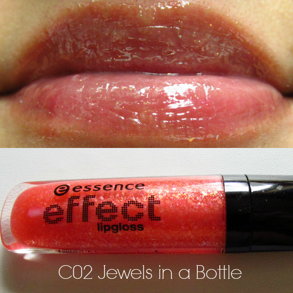 essence effect lipgloss c02 jewels in a bottle swatch