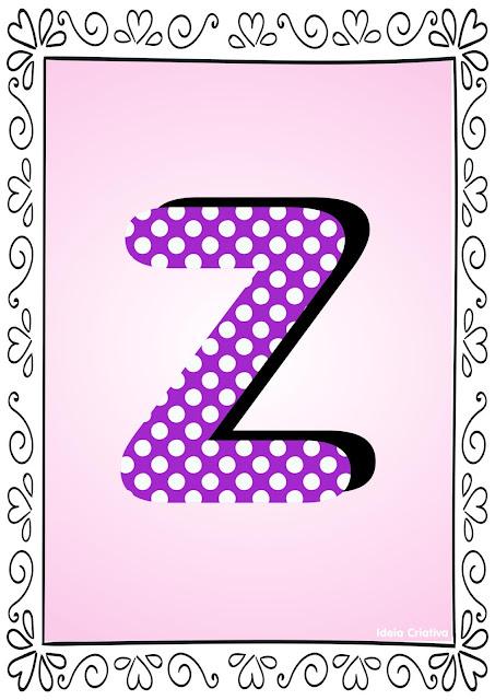 Alfabeto Poá Colorido com Borda Letra Z