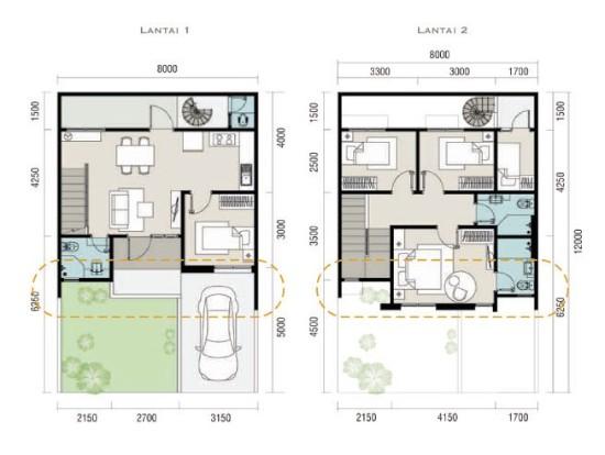 Denah rumah minimalis ukuran 8x12 meter 5 kamar tidur 2 lantai