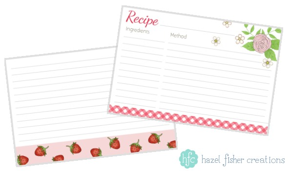 Printable summer strawberry recipe card available from hfcSupplies.Etsy by Hazel Fisher Creations