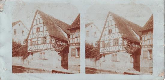 Raumbildkarte aus Bensheim-Auerbach, nur mit Stereoskop zu betrachten, Nachlass Joseph Stoll